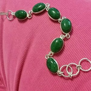"Jewelry - Aventurine 925 sterling silver bracelet 7.6"""